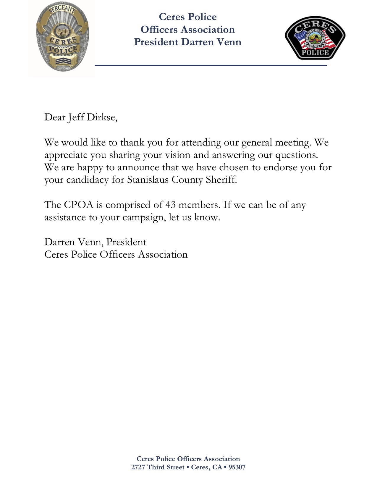 Dirkse CPOA Endorsement
