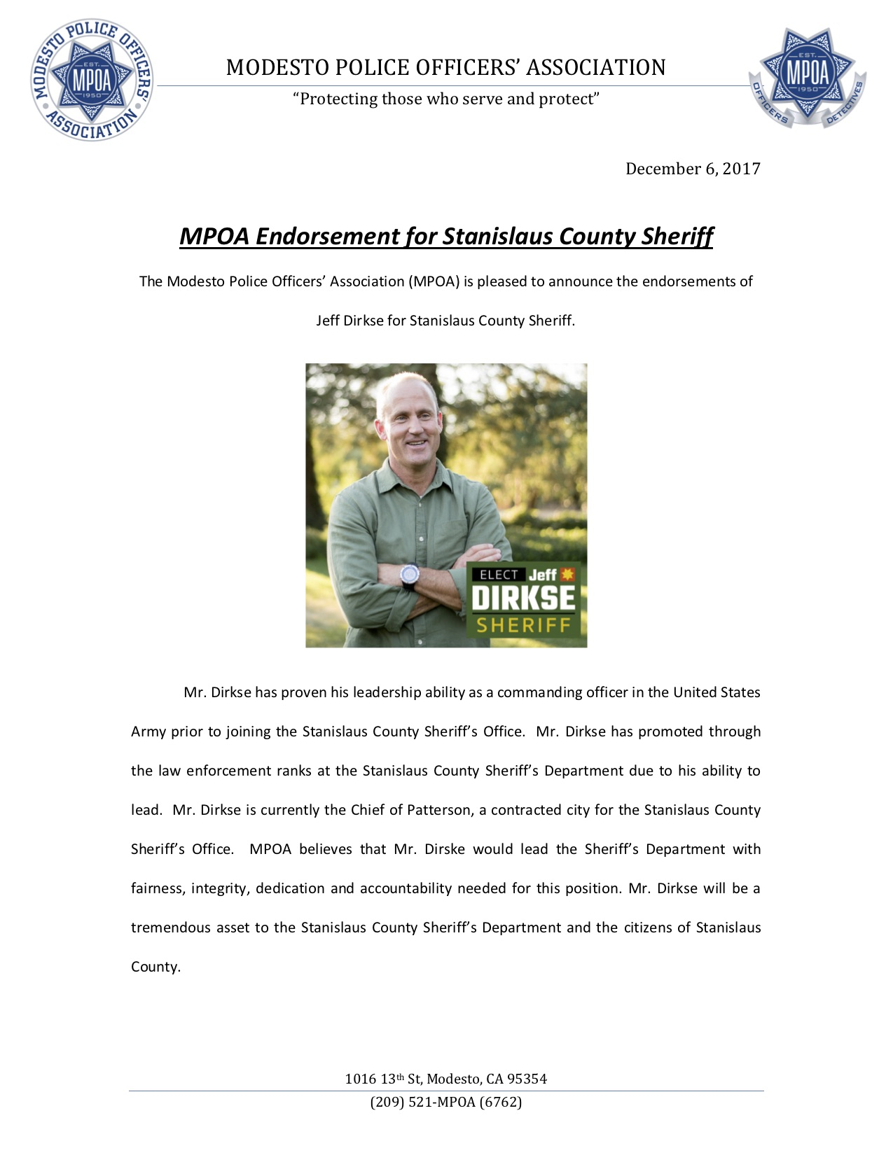 Dirkse MPOA endorsement
