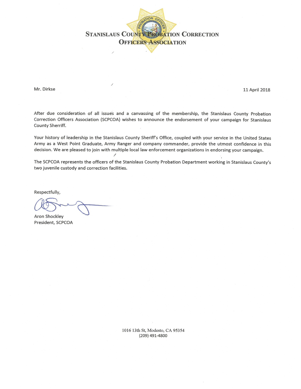 Stanislaus County Probation Correction Officers Association letter